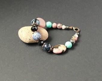 Rose black jewelry Blue black bracelet Calming energy bracelet Rhodonite gemstone beaded bracelet Sodalite jewelry Dragon vien agate bracele