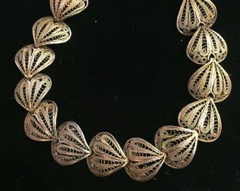Vintage Mexico Sterling Silver Filigree link bracelet Ambriz