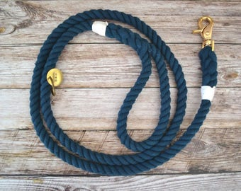 Cotton Rope Leash - Navy // Dog Leash // Dog Lead // Rope Dog Leash // Whipped & Spliced // Brass // Stainless // Hand Dyed //