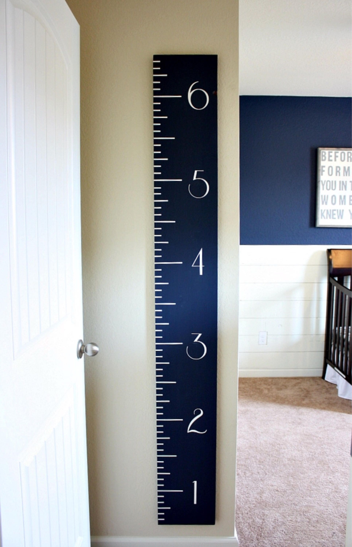 Navy Growth Chart | Wooden Ruler | Height Chart| Nursery | Baby ...