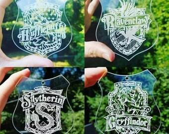 Harry potter house crest acrylic Christmas tree ornament Hufflepuff Gryffindor Ravenclaw Slytherin gift
