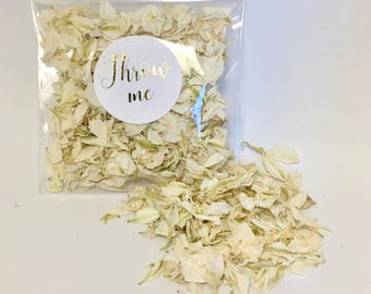 Flower petal confetti - off white/cream petals - biodegradable - metallic gold calligraphy 'throw me' label - vintage wedding - greenery