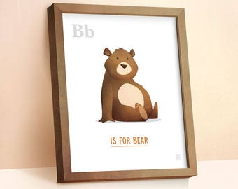 Bear Print | Nursery Animal Print | Alphabet letters | Alphabet Print | ABC letters | Animal Prints for Nursery | Bear Wall Art