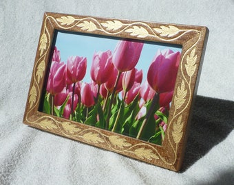 Photo Frame Vintage Style Free Shipping Gift Walnut Wood Engraving Wedding Tulips Birthday Home Decor Handmade EtsyVintageLover