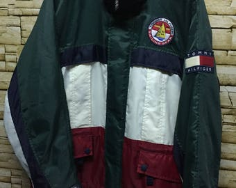 Vintage 90s Tommy Hilfiger Colourblock  Windbrakers  Jacket Size S Hip Hop Swag SpellOut Big Logo| Polo Ralph Lauren  | Polo Bear | Stussy
