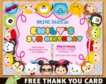 Tsum Tsum Invitation, Tsum Tsum Birthday Invitation, Tsum Tsum Party Printables- free thank you card
