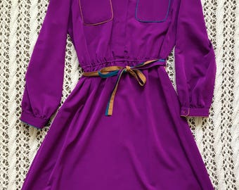 Vintage Women's Sasson Purple Teal and Salmon Dress size 10/11