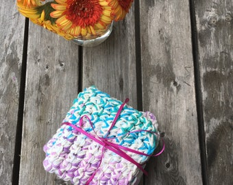 Dishcloths, Handmade Crochet Dishcloths, Set of three color coordinated dishcloths