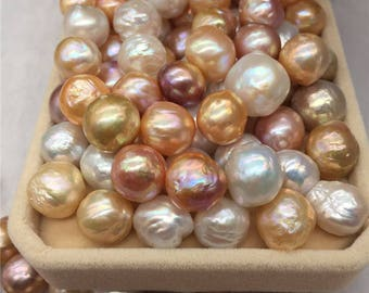 10 PCS 11-12mm baroque round pearls loose pearls