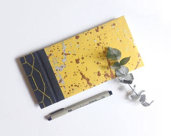 Travel handmade notebook Japanese sewing notebook Hand painted yellow cover silver copper metallic inks Dotted interior paper Gift Stationey
