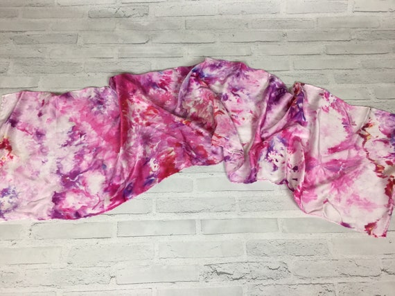 Coworker Retirement Gift! 100% Silk Oblong Scarf Hand Dyed Abstract Floral Watercolor Silk Scarves Teacher Gift Red Pink Purple Colors #150