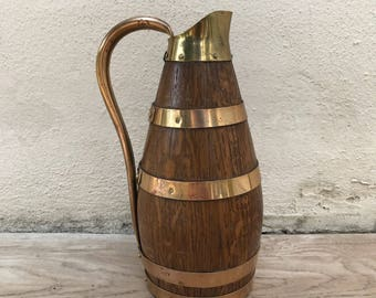 Vintage French Wooden Cider Jug Pitcher Staved Oak Copper Rivets SIGNED 1310179