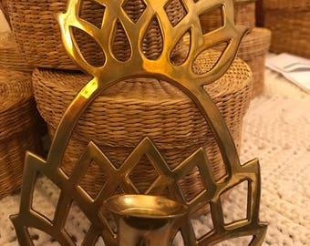 Brass Pineapple Sconce Candleholder
