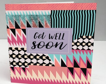 Get well soon card, Get well card, Get well soon, Modern get well soon card, Contemporary Get Well Card, Abstract Card, Handmade Card