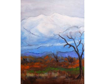 oil painting // misty mountains // artistic work of art // hand-painted impressionism art