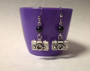novelty camera earrings, photographer gift, photography jewellery, silver camera beaded earrings