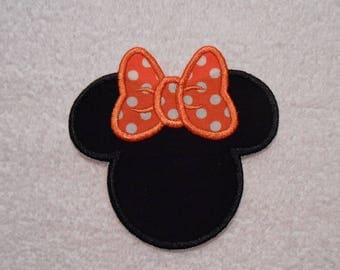 Black and Orange Minnie Mouse Iron on Applique Patch