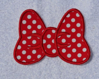 Red Polka Dot Minnie Mouse Bow Iron on Applique Patch