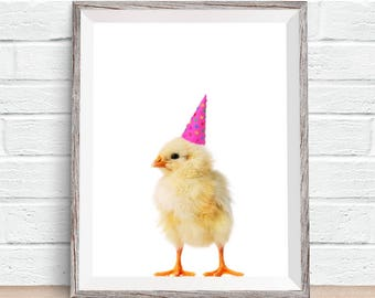 Baby Animals Chick with Party Hat Children's Nursery Digital Design Poster Wall Art Decor Download JPEG