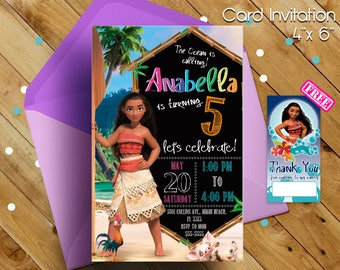 Moana Invitation, Moana birthday invitation, Moana party, Moana birthday, Moana invitations, Moana, invitations, free thank you notes, free