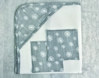Hooded Baby Towel and Washcloths - Baby Towel Set -