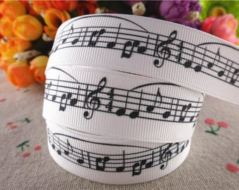 "Music Grosgrain 7/8"" Printed Ribbon, Music Notes"