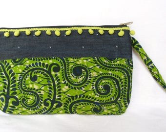 AFRICAN FABRIC AND DENIM ZIPPED POUCH