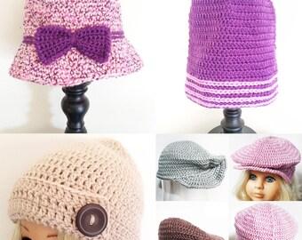 Crochet Hat - Crochet Beanie - Crochet Bonnet - Baby Hat - Child Hat - Beanie - Winter Hat - Girls Hat - Flat Cap - Newsboy Hat