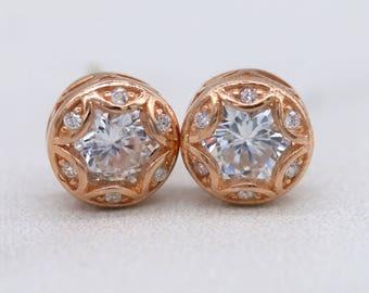 Art Deco Rose Gold Stud Earrings, Sterling Silver Stud Earrings, Minimal Simple Jewelry E012