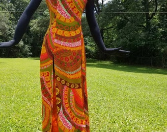 "VINTAGE 1970s groovy vibrant psychadelic print double split sleeveless high collar maxi dress with keyhole front/back  ""AlottaVagina"""