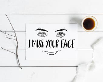 10 Pack I Miss Your Face Greeting Cards