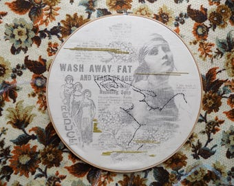 Vintage Ad Collage / Mixed Media Embroidery Hoop