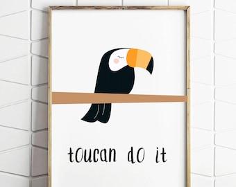 toucan art, toucan do it, toucan illustrated art, toucan download, toucan wall art, toucan wall print, toucan kids art, toucan do it prints
