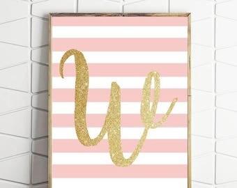 70% OFF SALE letter W art print, pink monogram art, stripes wall art, alphabet wall decor, monogram digital print, baby room wall art
