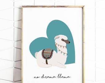 80% OFF llama print, drama llama, digital llama art, download drama llama, digital downloads, llama decor, llama poster, llama prints