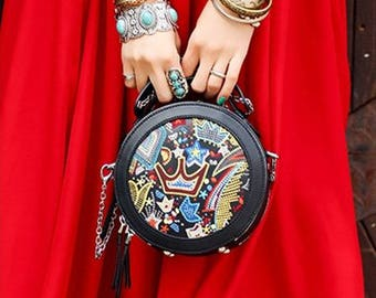 Leather Round Bag Ethnic Style Embroidery Crown Messenger Chain Bag