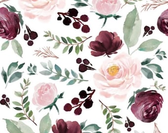 Fitted Cot Sheets - burgandy floral - Baby Cot/Toddler Bed
