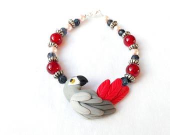 African grey parrot beaded bracelet -handmade parrot bracelet -fimo clay and beaded