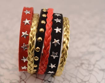 Red, black and gold MULTISTRAND bracelet