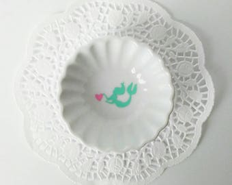 Mermaid Ring Dish, personalized Ring Dish, Customized Porcelain Ring Dish, Jewelry Holder, Trinket Dish