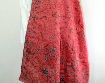 Boho, Hand embroidered, 100% Cotton, Rose Pink Shawl Wrap, Dupatta, Large Wrap, Holiday Wrap
