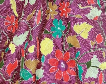 Vintage, Boho, Plum, Hand Embroidered in Floral Motifs, Stole, Scarf, Wrap, Shawl, Extra Large, Over-sized