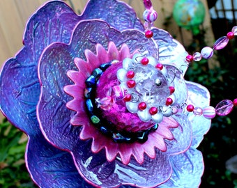 Iridescent Luminous colors, Pretty Pink to Purple change with light & different angles. Glass Garden Flower! Glass Garden Art, Sun Catcher.
