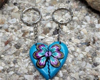 Duo heart and flower made of polymer clay keychain