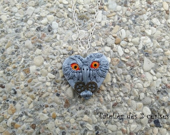 OWL polymer clay steampunk Heart Necklace