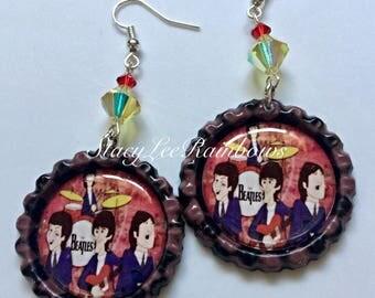 The Beatles Inspired Earrings Bottlecap Jewelry/Earrings
