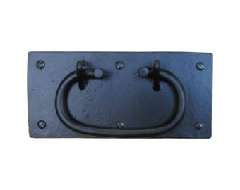 CHEST HANDLE Wrought Iron  - Box Handle - Trunk Handle with Black Finish