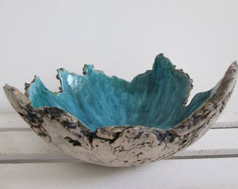 Sardinia ceramic bowl, turquoise bowl, handmade ceramic bowl, decorative bowl, bowl like a rock, blue handmade bowl, irregular bowl