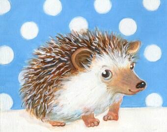 Hedgehog, Hedgehog Art, Hedgehog Print, Polka Dot Hedgehog, Hedgehog Painting, Hedgehog Art Print, Nursery Wall Decor, Baby Shower Gift