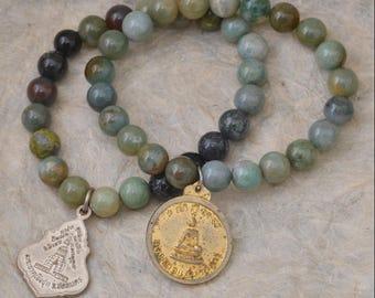 Green Agate Buddha Bracelet / Yoga Jewelry / Wrist Mala / Prayer Beads / Spiritual Jewelry / Meditation / Stretch / Love